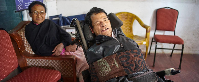 Dipendra Shakya with his mother